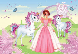 The princess and the Unicorn story wall mural - 13240