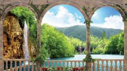 3D beautiful lake landscape wall mural - 1079