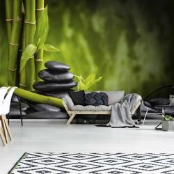 Bamboo and zen stones calming wall mural - 13036