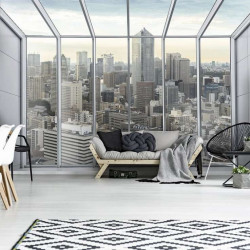 City view - black and white window wall mural - 13021