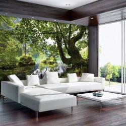 Green forest lake bedroom wallpaper - 10222