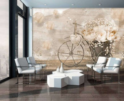 Oil paint Wall Mural, retro bicycle with flowers -3667