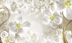 Orchid themed milky color wall mural - 2891