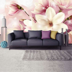 Pink accents floral photowall - 3505
