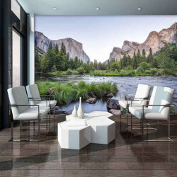 River, forest and mountains, nature wall mural - 11815