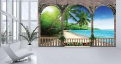 Sunny beach terrace view mural - 1078