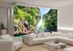 Tropical rocks above the sea waters wall mural - 137