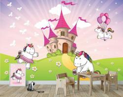 Unicorns by the castle, children's room wallpaper - 11607