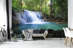 Waterfall, nature, green forest wall mural - 11893