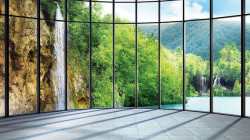 Green forest and waterfall 3d wall mural - 1511