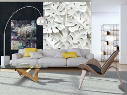 Gypsum palm leaves, 3D effect wall mural - 10052A