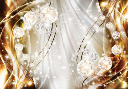 Impressively sparkling circles with gold background - 10403