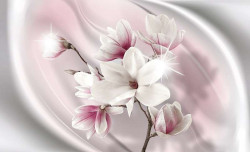 Photo wallpaper milky sea with flowers on stems -2844