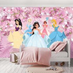 Princesses, wall mural in pink - 13236