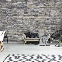 Shades of grey brick wall imitation wallpaper - 13035