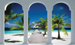 Walkway to the tropical beach - 2360