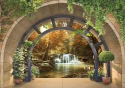 Zen garden background arched wall mural - 11553