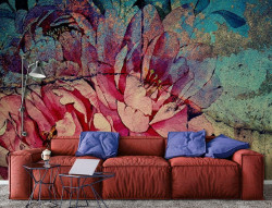 aged looking wall mural with floral motifs - 13484