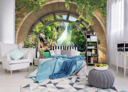 Arched walkthrough to the lake wall mural - 11552