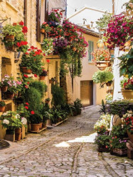 Blossomed old mediterranean town street wall mural - 1339A