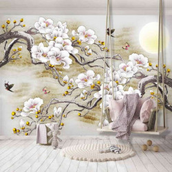 Blossomed trees and birds painting wall mural - 13287