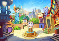 Cats in town, children's room wall poster - 12545