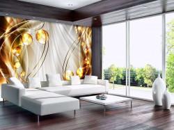 Golden circles abstract wall mural - 10296