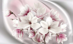 Photo wallpaper milky sea with flowers - 3017