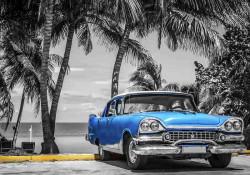 Retro car blue accents wall mural - 13335