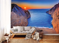 Sunset by the ocean bright colors wall mural - 13047