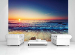 Waves during sunset wall mural - 12623