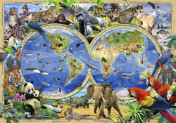 World map with ocean animals, kids room wall mural - 12842
