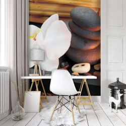 Zen themed wall mural, black stones and flower - 10188A