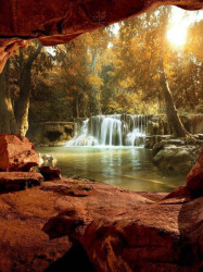 3D nature waterfalls and lake wall mural - 10261A