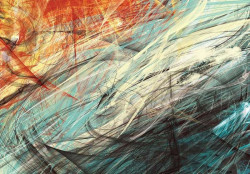 Abstract curves and colors wall mural - 10004