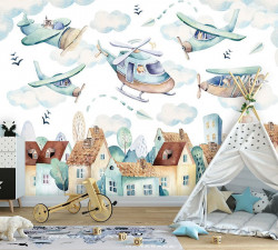 Airplanes and choppers over the town wall mural - 13675
