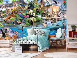 Animals of all continents, children's room wallpaper - 12843