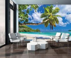 Hammock tilted palm on a paradise beach - 10332