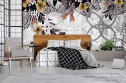 Modern wall design with floral motifs - 13581