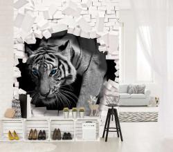 Tiger breaking through brick wall - 10400A