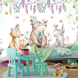 Animals in the forest, funny colors wall mural - 13580