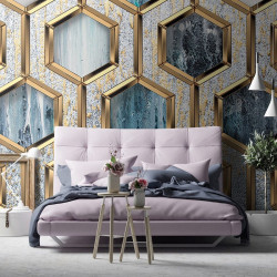 Art Wall Mural in shades of blue and gold - 13611