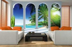 Balcony to a sandy beach wall mural - 2356