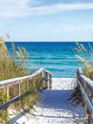 Beach walkway with blue sea in the background - 3462A