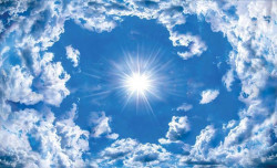 Blue sky, white clouds and the sun wall mural - 2305