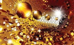 Gold color wall mural with geometric shapes - 3272