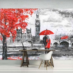 London - red accents wall mural - 11471