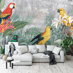 Parrots in the wild, painted kids wall murals - 13646