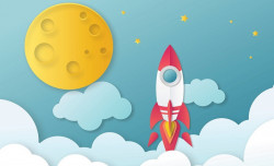 Rocket to the moon, kid's bedroom wall poster - 13606
