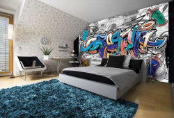 Street art, graffiti wall mural with blue accents - 2294